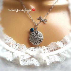 Silver Dragonfly Locket Birthstone Necklace